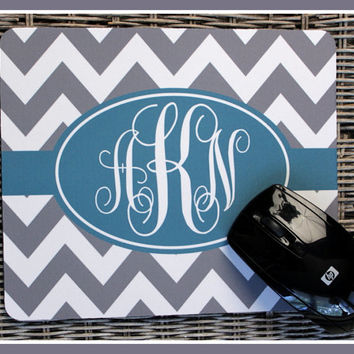 Mouse Pad Monogrammed Gifts Personalized Mousepad Chevron Computer Accessories Geekery Custom Desk Coworker Gifts Office Gifts Ocean Stripes