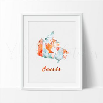 Map of Canada 2 Watercolor Art Print