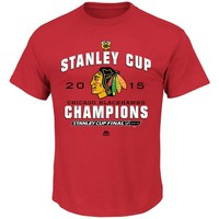 Men's Chicago Blackhawks Majestic Red 2015 Stanley Cup Champions Stack the Pads T-Shirt
