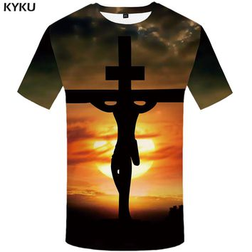 KYKU Jesus T Shirt Women Moon T-shirt Punk Rock Clothes Character 3d Printed Tshirt Harajuku Womens Clothing Summer Streetwear