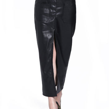 Black Leather High Waisted Maxi Skirt with Front Zipper