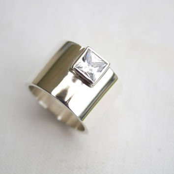 chunky silver ring edgy statement ring square stone ring bold ring unique engagement ring