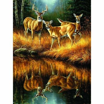 5D Diamond Painting Buck and Does Kit