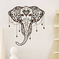 Ganesha Wall Decal Animal Wall Decals Bohemian Elephant Lord of Success Buddha Yoga Om Vinyl Sticker Home Decor Art Decor Bedroom NV128 (17x19)