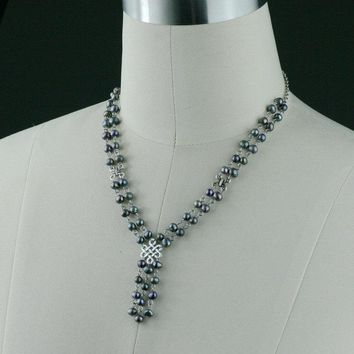 Black pearl Irish knot lariat necklace Bridesmaids gifts Free US Shipping handmade Anni Designs