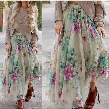Off White Floral Print Bohemian Skirt