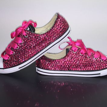 """Dainty All Star Converse """"Pretty In pink"""" With Fuchsia Pink Crystals & Hot Pink Laces"""