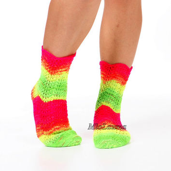Striped socks Neon green socks 8-8.5 US Lace socks Winter accessories Ready to ship