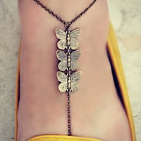 butterfly anklet, slave anklet, barefoot sandal, leg piece, foot piece, butterfly jewelry