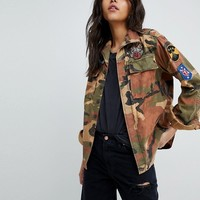 Replay Camo Jacket With Patches at asos.com