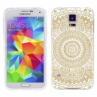 S5 Case, Samsung S5 Case,Galaxy S5 Case , ChiChiC full Protective unique Case slim durable Soft TPU Cases Cover for Samsung Galaxy S5 I9600 SM-G900A SM-G900T SM-G900P SM-G900V SM-G900R4,geometric white mandala yellow wood grain