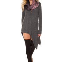Jaslene Tunic Dress - Charcoal