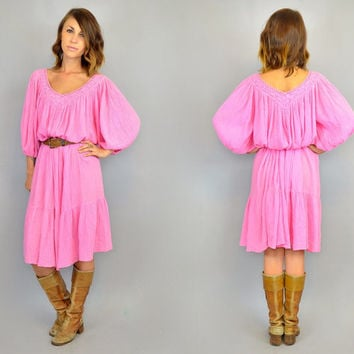 bubblegum CRINKLE GAUZE + CROCHET vtg 1980s bohemian hippie balloon sleeves midi maxi dress, one size fits all