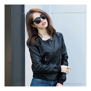 Woman Faux Leather Coat Round Collar Fashionable   S