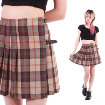 9033f59a87 90s Brown Plaid Pleated High Waist Mini Skirt Preppy Goth Lolita Schoolgirl  Made in Italy 1990's