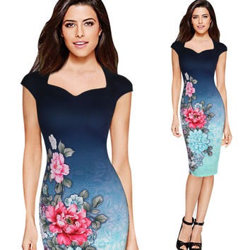 Womens Vintage Summer Elegant Floral Print Charming Pinup Cap Sleeve Casual Party Pencil Bodycon Sheath Dress