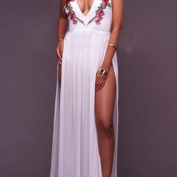 White Embroidery Cut Out Deep V-neck High Side Slit Homecoming Party Maxi Dress