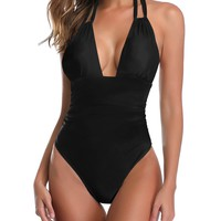 Halter Cut Out Ruched One Piece Swimwear