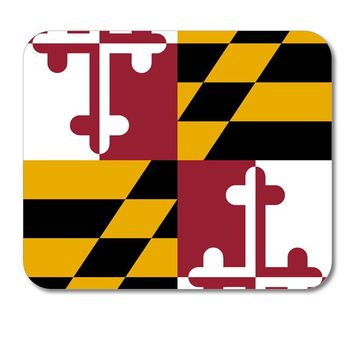"""DistinctInk Custom Foam Rubber Mouse Pad - 1/4"""" Thick - Maryland State Flag"""