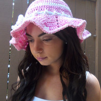 Brimmed Crochet Hat - Crochet Sun Hat - Floppy Hat - Beach Hat - Pink Summer Hat - Fashion Accessories