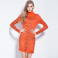 Turtle Neck Tiger Pattern Long Sleeve Knitted Sheath Sweater Dress