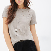 Distressed Slub Knit Tee
