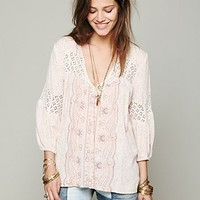 Free People Printed Bubble Sleeve Top
