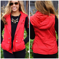 Bear Hug Red Hooded Faux Fur Lined Vest