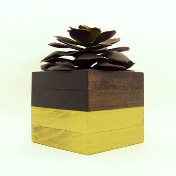 Large Wood Succulent Planter, Geometric Gold, Modern Cube Plant Holder, Indoor Planter Box, Cactus Planter, Office Planter, Home Decor