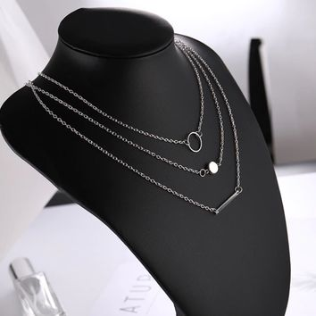 Circle Bead Bar Layered Chain Necklace