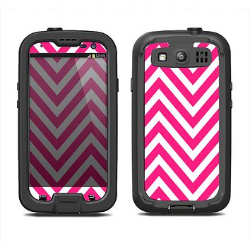 The Pink & White Sharp Chevron Pattern Samsung Galaxy S3 LifeProof Fre Case Skin Set