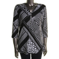 JM Collection Womens Modern Mix Matte Jersey Embellished Tunic Top