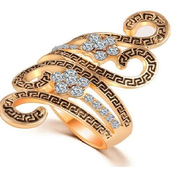Gold Color Luxury Exaggerated Zircon Crystal Wedding  Ring (6,7)