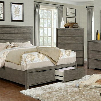5 pc Asterope collection rustic gray finish wood with drawers in the footboard queen bedroom set