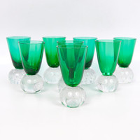Vintage Emerald Green Glass Shot Glasses Hand Blown Art Glass Controlled Bubble Ball Base Cordials Set of 8