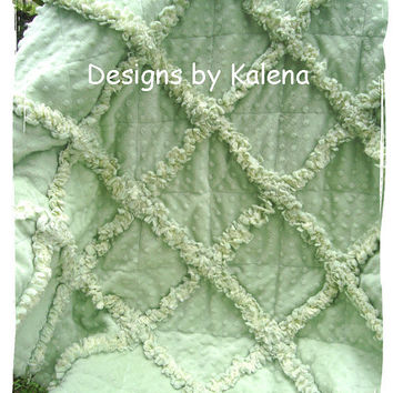 Sage Green Minky Chenille Rag Quilt - Toddler, Crib - Boy or Girl