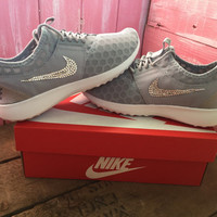 Blinged Nike Juvenate Shoes Grey Customized With Swarovski Crystal Rhinestones New in Box Bling