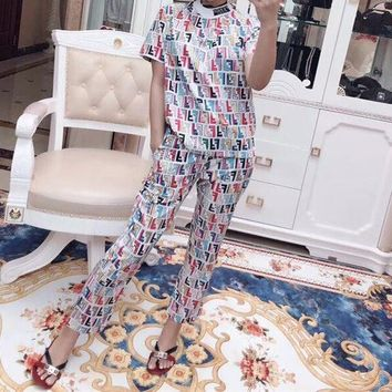 Fendi Casual  Pattern  Round Neck  Short Sleeve Edgy Fashion Two-Piece Suit Clothes