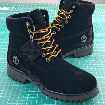 Off White X Timberland Velvet Hiking 6-inch Black Boots - Best Online Sale