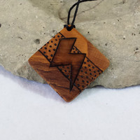 Mens Pendant Lightning Bolt Necklace Wood Natural Jewelry