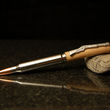 Wood Bullet Pen - Handcrafted Wooden Maple Rifle Style Ballpoint Twist Pen - Makes a Great Gift for Hunters and Shooters