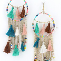 Wild & Free Tassel Earrings in MInt