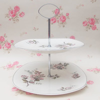 Two Tiered Cake Stand, Midwinter Stylecraft, 'Kashmir' Pattern, China Cake Stand - 1960s