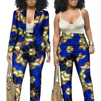 African Print Dresses Two Piece Set Dashiki Set Print Ladies Blazer Suits Long Sleeve Casual Suit Blazers WY019