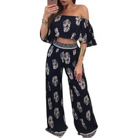 Floral Ruffle Off Shoulder Crop Top and Long Pants