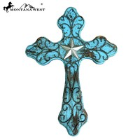 Montana West Turquoise Lone Star Wood Wall Cross