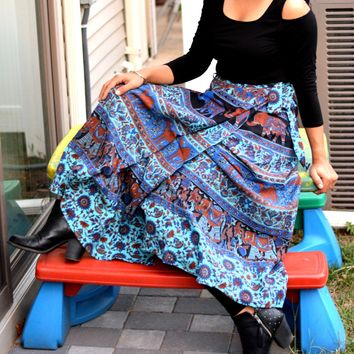Wrap around skirt, Wrap skirt,Long Elephant Printed Wrap Skirt,Handmade,Indian Ethnic,Free size warp skirt,Hippie Skirt, Blue wrap skirt