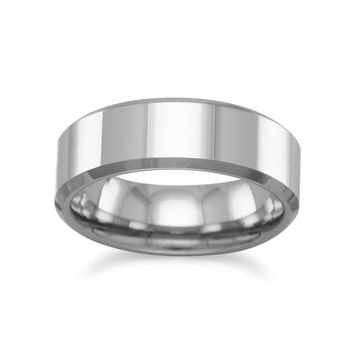 Tungsten Carbide Men's Ring with Beveled Edge