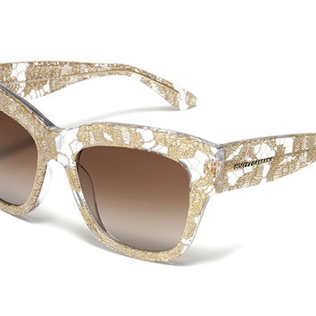 Women's gold lace acetate color lace glasses with oversize frame by Dolce & Gabbana dg4231