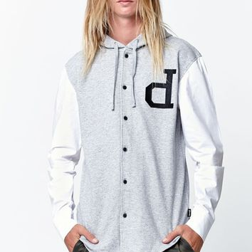 Diamond Supply Co Crown Terry Long Sleeve Button Up Shirt - Mens Shirts - Gray